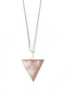 Rosenquarz Dreieck - Halskette, versilbert - Crystal and Sage