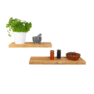 Wandregal Eiche Massivholz mit Baumkante 40-160 cm Länge rustikal - GreenHaus