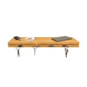 Schlüsselbrett Holz aus Eiche mit Ablage 30x13x4 cm Handarbeit - GreenHaus