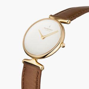 Armbanduhr Unika Gold | Weißes Ziffernblatt - Veganes Lederarmband - Nordgreen Copenhagen