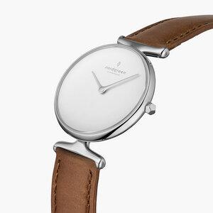 Armbanduhr Unika Silber| Weißes Ziffernblatt - Veganes Lederarmband - Nordgreen Copenhagen