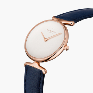 Armbanduhr Unika Roségold | Weißes Ziffernblatt - Veganes Lederarmband - Nordgreen Copenhagen