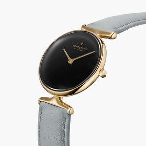 Armbanduhr Unika Gold | Schwarzes Ziffernblatt - Veganes Lederarmband - Nordgreen Copenhagen
