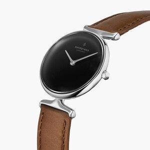 Armbanduhr Unika Silber | Schwarzes Ziffernblatt - Veganes Lederarmband - Nordgreen Copenhagen