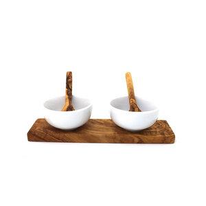 Dipschalen Set aus Porzellan & Holz 8,5 cm - Mitienda Shop