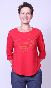 Bio-Damen-3/4 Arm Shirt- Schwungkreisel - Peaces.bio - handbedruckte Biokleidung