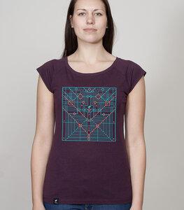 Bamboo Raglan Shirt Women Aubergine 'Origami' - SILBERFISCHER