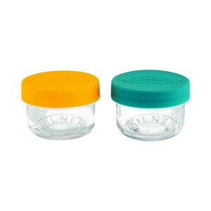 2 Auslaufsichere Snackgläser aus Glas mit Silikondeckel, 125 ml - Kilner