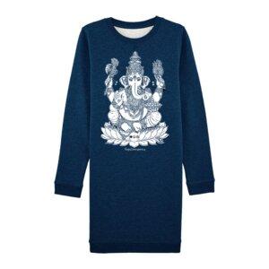 """YOGICOMPANY -Damen- Yoga Sweatkleid Bio-Baumwolle """"Ganesha"""" blau/silber - YogiCompany"""