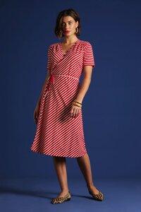 King Louie - Mandy Wrap Dress Breton Stripe, chilli red - King Louie