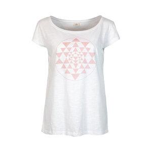 YANTRA - Damen - lockeres Print T-Shirt für Yoga aus 100% Biobaumwolle - Weiß - Jaya