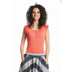 Julika T-Shirt Women Bamboo Hot Coral - Minimal - Re-Bello