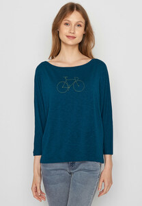 Damen Longsleeve Biobaumwolle Bike Golden Bike Smile - GreenBomb