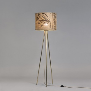 Stehleuchte Tripod-Perlbohne N°73 aus Bronze und Kaffeesack - lumbono