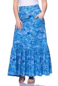 ANISHA Maxirock mit Rüschensaum blau aus Bambus-Viskose - Ingoria