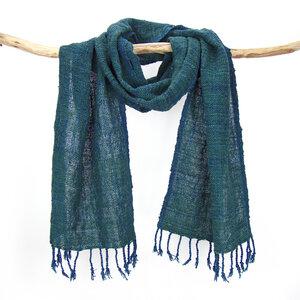 Schal handgewebt, pflanzengefärbt, Baumwollschal - Sukham