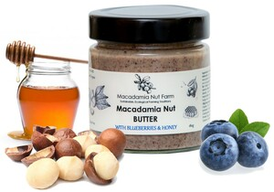 MACADAMIA NUSSBUTTER , Honig & Heidelbeere, 180g - Macadamia Nut Farm