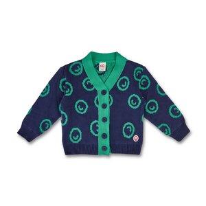 Manitober Kinder Strickjacke Smiley Blau/Mint (Bio-Baumwolle, kbA) - Manitober