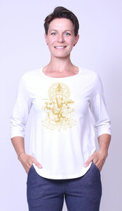 Bio-Damen-3/4 Arm Shirt Ganesha - Peaces.bio - handbedruckte Biokleidung