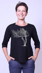 Bio-Damen-3/4 Arm Shirt- Fancy Tree - Peaces.bio - Neutral® - handbedruckt