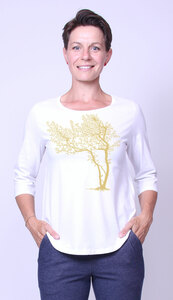 Bio-Damen-3/4 Arm Shirt- Fancy Tree - Peaces.bio - Neutral® - handbedruckt