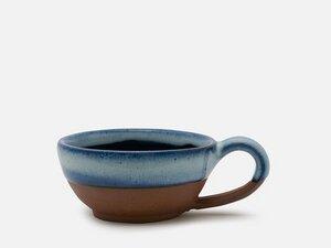 Runde zweifarbige Tee-Tasse aus Keramik mit Griff - FOLKDAYS