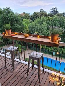 Balkonbar Eichenholz - Balkongeländer Rechteck hoch - 90 x 30 cm - Balkonbar
