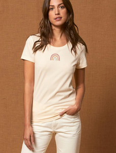 Flauschige reine Biobaumwolle T-Shirt tailliert / Little Rainbow - Kultgut