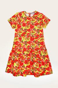 Bio Kleid Mädchen mit kurzem Arm, Blumenprint - Jolanka - Lana naturalwear
