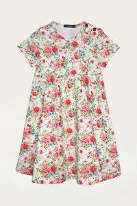 Bio Kleid Mädchen mit kurzem Arm, Blumenprint - Lena - Lana naturalwear