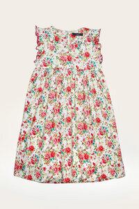 Bio Kleid Mädchen mit Rüschenarm, bunt - Lara - Lana naturalwear