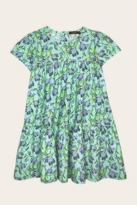 Bio Sommerkleid Mädchen mit kurzem Arm, Blumenprint - Viola - Lana naturalwear