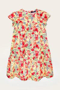 Bio Kleid Mädchen mit kurzem Arm, Blumenprint - Felice - Lana naturalwear