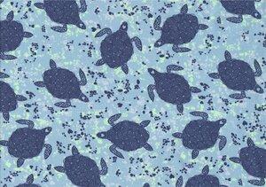 Jersey Bio-Baumwoll-Stoff Schildkröte aqua - Egedeniz Textile