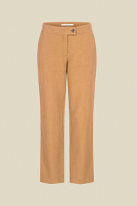 Damen 7/8 Hose mit leicht ausgestelltem Bein aus Tencel mit Leinen von Lanius, Farbe Cashew - LANIUS