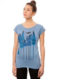 FellHerz Damen T-Shirt Wood Girl blueshadow - FellHerz