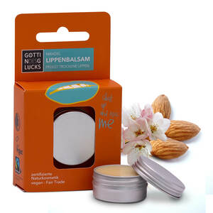 Göttin des Glücks Lippenpflege Mandel 12 Gramm Dose - Lipbalm vegan - Fairtrade-Naturkosmetik - Lippenbalsam ohne Mineralöl und Mikroplastik - Göttin des Glücks