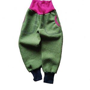 Wollwalkhose mit Taschen in Olive mit Bündchen in Grau oder Beere - Ulalü