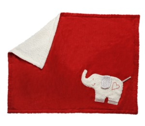 Babydecke rot/weiß mit Elefant, kbA, 100 % Made in Germany - Efie