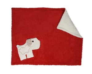 Babydecke rot/weiß mit Hund, kbA, 100 % Made in Germany - Efie