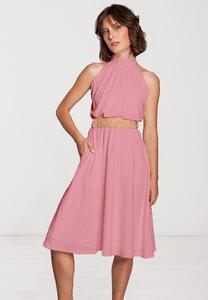 Knielanges Kleid Stehkragen tailliert Raffung ärmellos Viskose weiß oder rosa - SinWeaver alternative fashion