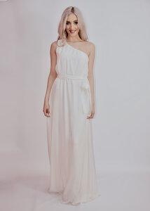 Langes Abendkleid aus Seide in Weiß - Ana Bogmair