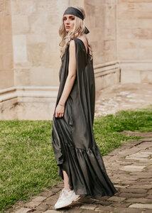 Langes Seidenkleid in Grau - Ana Bogmair