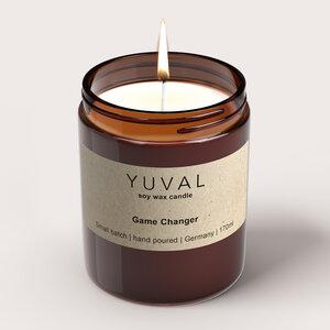 YUVAL Vegane Duftkerze im Glas mit Cannabis und Agarholz Duft (Game Changer) - YUVAL