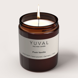 YUVAL Vegane Duftkerze im Glas mit Vanille und Sandelholz Duft (Posh Vanilla) - YUVAL