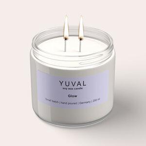 YUVAL Vegane Duftkerze im Glas mit frischem Lorbeeren und Lavendel Duft (Glow) 250g - YUVAL