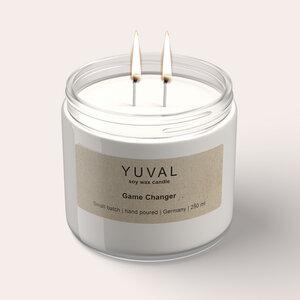 YUVAL Vegane Duftkerze im Glas mit Cannabis und Agarholz Duft (Game Changer) 250g - YUVAL