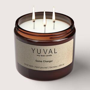 YUVAL Vegane Duftkerze im Glas mit Cannabis und Agarholz Duft (Game Changer) 500g - YUVAL