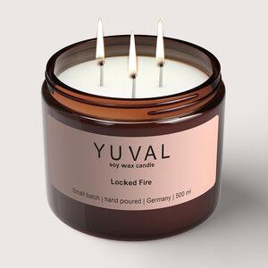 YUVAL Vegane Duftkerze im Glas mit verbranntem Holz und orientalischen Gewürzen (Locked Fire) 500g - YUVAL