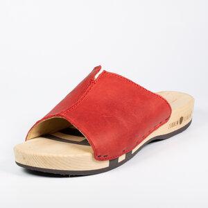 Zirbenschuh mit biegsamer Holzsohle, Stella grey, rot, cognac - Zirbenschuh